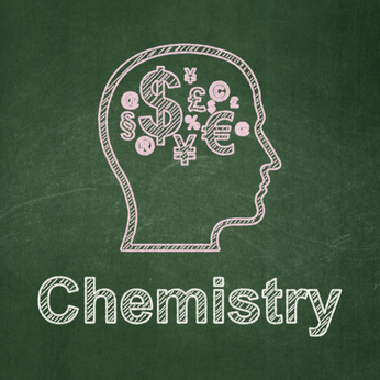 Education concept: Head With Finance Symbol and Chemistry on chalkboard background